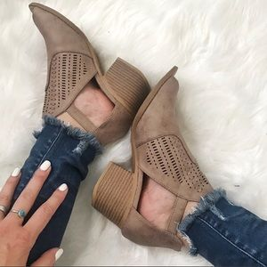 Shoes - Cut Out Block Bootie Peep Toe Heel